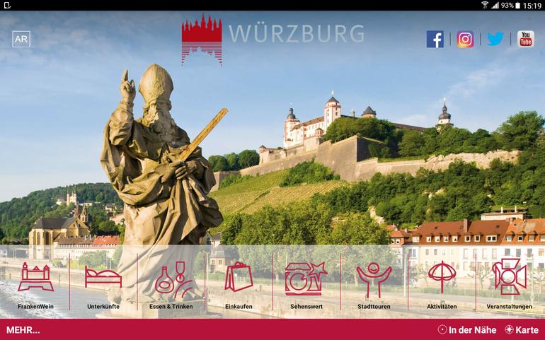 Karte Würzburg Und Umgebung.Tourismus Service Broschüren Downloads App Würzburg App