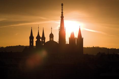Church spires in sunrise