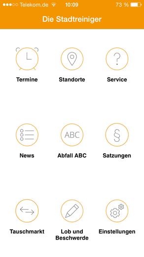 Übersicht Abfall App