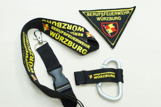 Ärmelabzeichen und Schlüsselanhänger Berufsfeuerwehr Würzburg