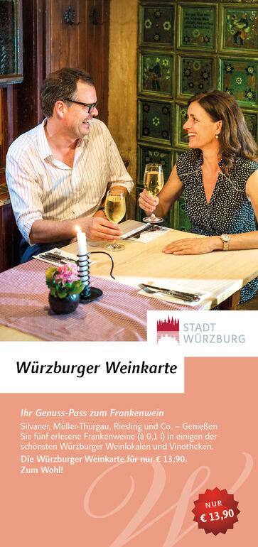 Die Würzburger Weinkarte – Ihr Genusspass für 5 ausgewählte Frankenweine