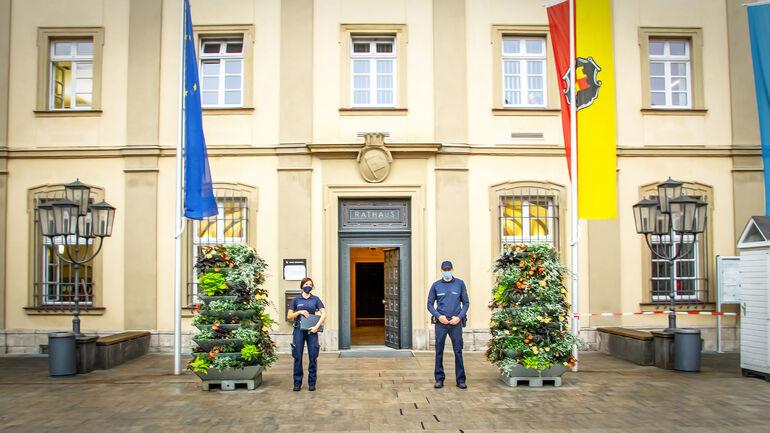 Ausgang Rathaus bei Einbahnstraßen-Regelung