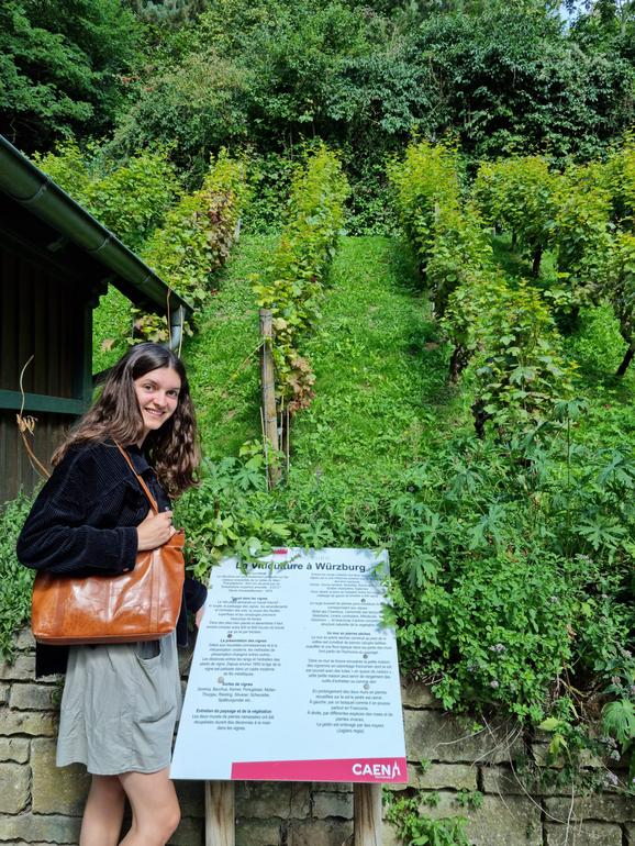 Wie am Würzburger Stein: Katharina Walch an der Nachbildung eines typischen fränkischen Weinbergs.