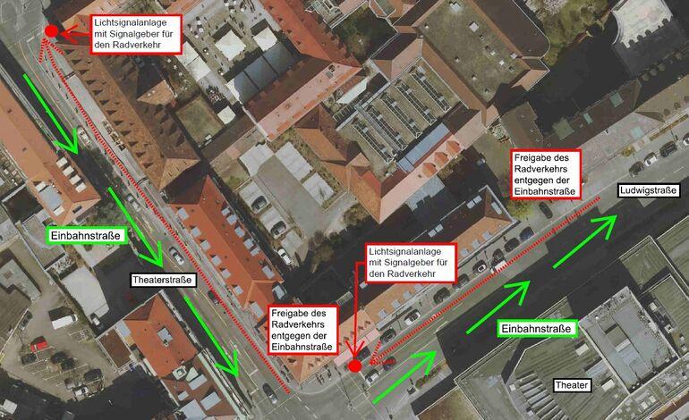Baustellenführung mit Freigabe des Radverkehrs entgegen der Einbahnstraßen, Stadt Würzburg