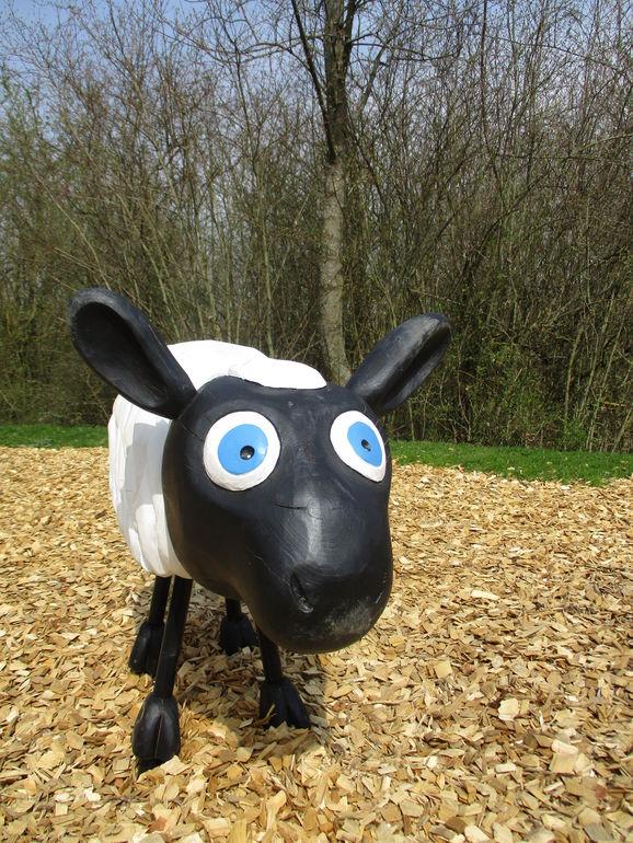 Ein Schaf kommt selten allein - ein Teil der Herde auf dem Spielplatz Gertrud-von-le-Fort-Straße