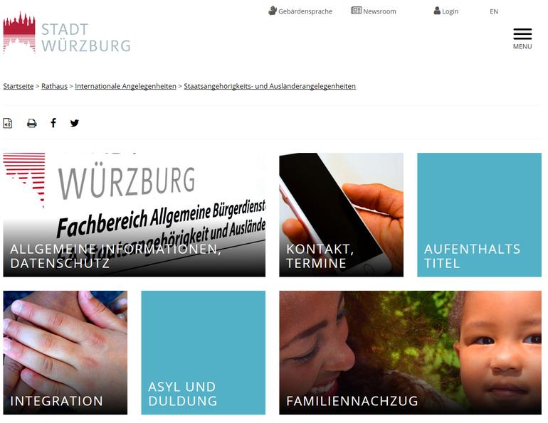 Internetseiten der Ausländerbehörde